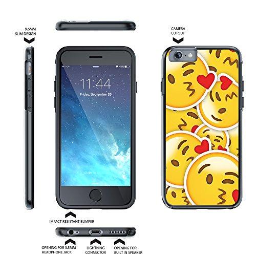 """iPhone 6 6s Plus 5.5"""" Case, True Color® Emoji Kuss Glänzend Herz 3D gedruckd Hybrid Hartschale + Soft TPU Bumper beständige Schutzhülle [Sammlung überall] Kuss glänzender Herz Multi"""