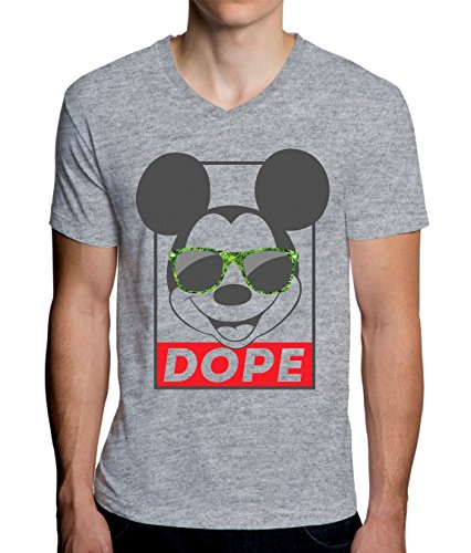 Mickey Mouse With Weed Sunglasses Dope Funny Graphic Design Men's V-Neck T-Shirt XX-Large