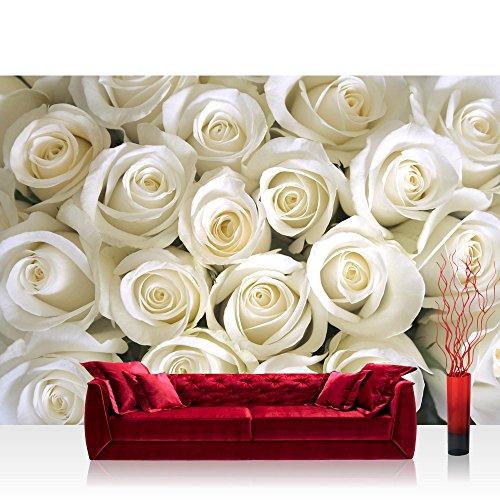 Liwwing - Mural de papel pintado con diseño de imagen de la foto a base de flores de colour rosa y flores de colour blanco y beige de amor y de corazón de flor de colour blanco