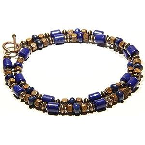 Boho Halskette für Männer Lapislazuli Holz Kupfer Geschenk für ihn Geschenk für sie Bijou für Männer Halskette für Frauen Unisex Kette