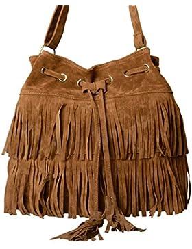 LOSORN ZPY Damen Messenger Bag Fransentasche Handtasche Schultertasche Troddelbeutel Umhängetasche