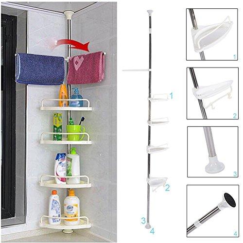 Estante de esquina para ducha de baño, 4 estantes ajustables para esquina...