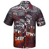 MOTOCO Herren Hawaiian Shirt / 3D Druck Lässige Kleidung Button-Down/Strandurlaub Aloha Summer Beach Kurzarm Blusen(2XL,Rot)