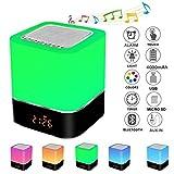Careslong Lampada da Comodino con Altoparlante Bluetooth Controllo Touch Dimmerabile 7 colore, con funzione sveglia/altoparlante wireless/radio FM/Chiamate Vivavoce