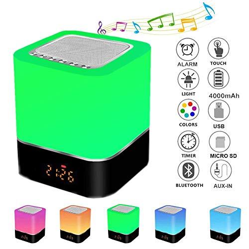 Nachtlampe mit Bluetooth Lautsprecher, careslong Dimmbare 7 Farbe 256 RGB Farbwechsel Stimmungslicht Touch Nachtlicht Nachttischlampe