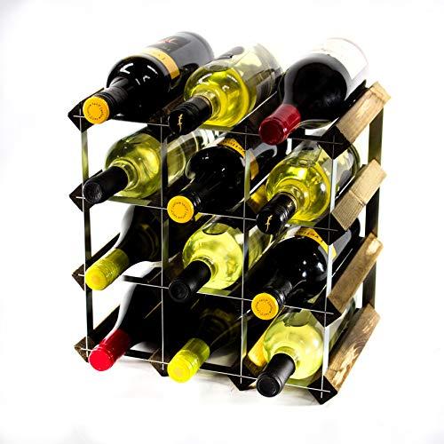 Klassische 12 Flaschen Eiche dunkel gebeiztem Holz und verzinktem Metall Weinregal Selbst Assembley