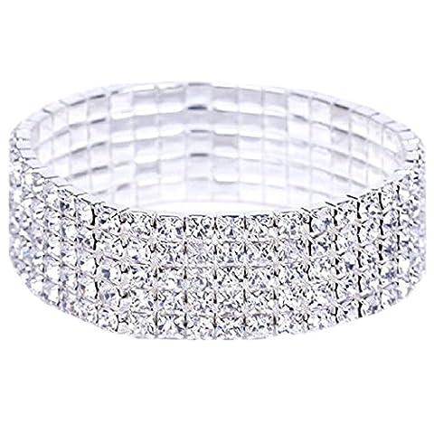 OVERMAL Strass éLastique Extensibles 5 Rang Bracelet De Cristal Avec Une Bijouterie