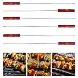 #6: Livzing Barbecue BBQ Grill Skewer Sticks Heavy Stainless Steel with Wooden Handle (50cm - 6 per Pack)