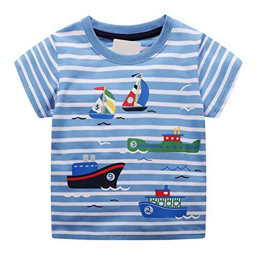 Kleiner Junge kurzärmeliges T-Shirt mit Streifenmuster Segelboot Muster Sommermode Kinderkleidung 1-8 Jahre Alter Junge - 1 Jahr Alter Baby Junge Kostüm