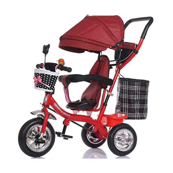 Pushchairs Multifunctional Child Tricycle Trolley 1-3 - 5 Years Old Bike Baby Bicycle Baby Car Prams (Color : E)  Features assembled canopies without worrying about rain and sunshine,Safety features and safety belts are provided for safety. The pedal can be folded for more convenient use: the pedal can be folded to make travel more convenient. Upgrade the thickened sponge pillow to protect the baby's head and make the baby ride safer. 1