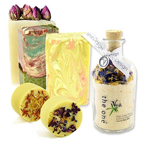 Artisan soap- butters-water de bain Jardin Lait de bain – TRIO EN CIRE de soja Bougies parfumées Coffret Cadeau naturel fait main corps de bain