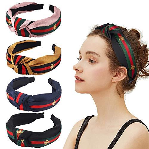 Haarbänder für Damen, Rot/Grün gestreift, 4 Stück, breite Haarbänder, gekreuzt,süßer Haarreif mit Biene,Tier-Haarband, für Mädchen, Erwachsene,Halloween,Weihnachten,Party, Dekoration, Haar-Zubehör -
