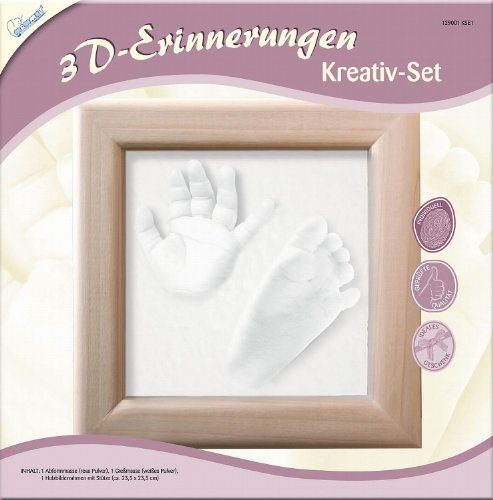 rinnerungen Abdruck Set, Abformset für Gipsabdruck von Babys Hände und Füße, Komplettset mit Holzrahmen, Kreativset für junge Eltern, Geschenkidee zur Geburt ()
