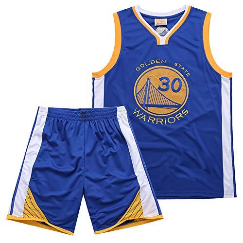 MAZO-Sport Krieger Curry 30 Jersey Passen Zum Erwachsene, Bestickt Basketball Jersey, Sommer Schweiß- Saugfähig Basketball T-Shirt, Basketball Ausbildung Hemden Blau
