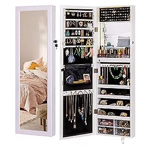 LUXFURNI LED-Licht Schmuckschrank Wandhalterung/Türspiegel Make-up Abschließbarer Schrank, großer Aufbewahrungsbehälter mit Schubladen