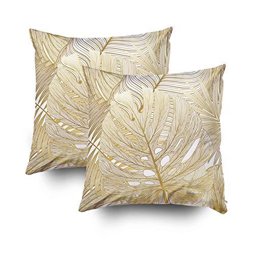 andard 40,6 x 40,6 cm quadratisch für Kissen Home Dekoratives Muster Tropische Blätter Palmkissen Bezüge Bedruckt mit beiden Seiten Baumwolle Marokkanisch 18X18 Set of 2 Multi 1 ()