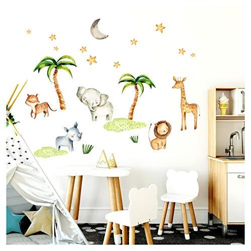 Little Deco Wandsticker Kinderzimmer Elefant Löwe Palmen Dschungel I 124 x 86 cm (BxH) I Wandtattoo Junge Deko Babyzimmer Baby Bilder Wandaufkleber DL206-23 (Dschungel Kinderzimmer Wandtattoos)