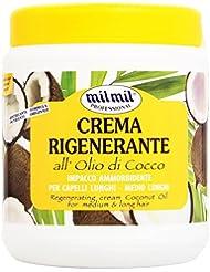 Milmil Crema Rigenerante all' Olio di Cocco, Impacco Ammorbidente per Capelli Lunghi e Medio Lunghi - 1 Litro