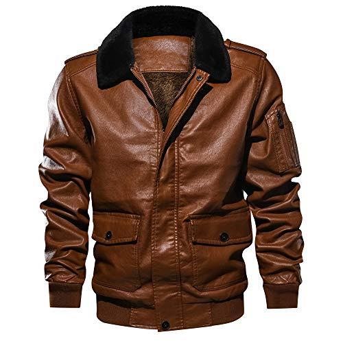 Kanpola Herren Jacken Winterjacke Winter Warm Outfit Sport PU Leder Sweatjacke Bomberjacke Jacke Mantel