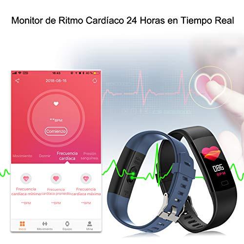MAYIBAN Pulsera de Actividad Inteligente,  Pulsera Actividad con Monitor Ritmo Cardíaco,  Oxígeno en Sangre,  Calorías y Sueño Podómetro GPS Cronómetro IP67 Pulsera Inteligente para iOS y Android
