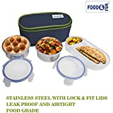 FOOD & FUN Stainless Steel Insulated Lunch Box Set for Office Men, Women, School Kids with Bag Cover | Air Tight (3 Container) by Web Bazaar