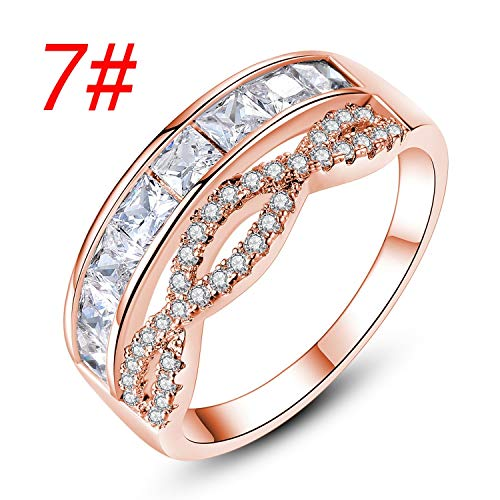 y Gold Crown Platz Zirconium Ring Einfacher Micro-Set Hohl Paar-Ring ()