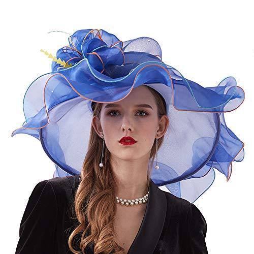 opfbedeckung, Elegante Blumen Organzahut Hut Damen Sonnenhüte Für Royal Ascot 2 Tragemöglichkeiten,A ()