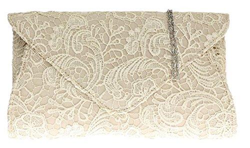 Lace Clutch raso delle signore Borsa oversize Womens sera catena Eventi Moda spalla - Champagne