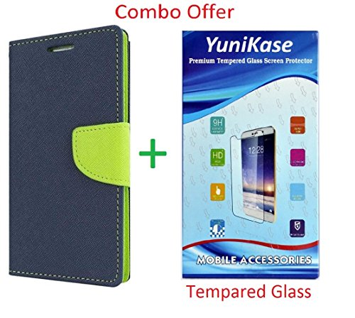 YuniKase (COMBO OFFER) for Coolpad Note 3 LITE Wallet Flip Cover + Premium Tempered Glass Screen Protector - (Blue, Green)