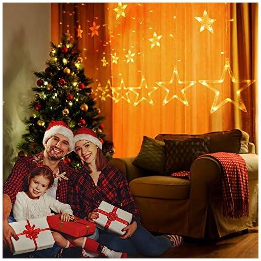 Tenda Di Luci Stella,Luci Di Natale Tenda Led 12 Stelle Bianco Caldo 138 Luminosa Stella Finestra Pendenti Natale Decorazioni Esterno Ed Interni Per Natale, Feste, Matrimonio