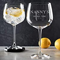 """Personalised Gin Glasses for nanny/Best Nanny Gifts/Copa de Balon""""Nanny's Gin & Tonic"""" Glass/Nanny's Gin Glass/Gin Birthday gifts for Grandma"""