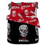 Love Skull (Amor del craneo) - SoulBedroom Juego de cama, 100% Algodón (funda de edredón 155x200 cm y 1 funda de almohada 65x65 cm) / cama de 90 cm (individual)