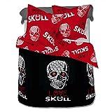 SoulBedroom Love Skull 100% Baumwolle Bettwäsche (Bettbezug 135x200 cm & Kissenbezug 80x80 cm)