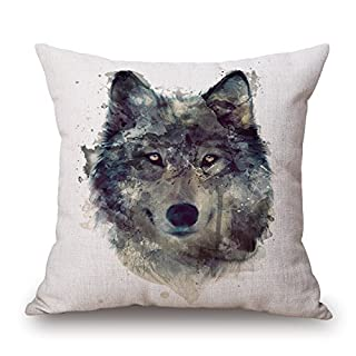 Elliot_yew Nordic Simple Watercolor Painting Animals Throw Pillow Case Personalized Cushion Cover Home Office Decorative Square Pillowcase 18 X 18 Inches-Wolf