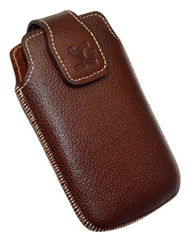 Original Suncase Tasche für / Doro PhoneEasy 612gsm - 612 / Leder Etui Handytasche Ledertasche Schutzhülle Case Hülle / in vollnarbiges-braun