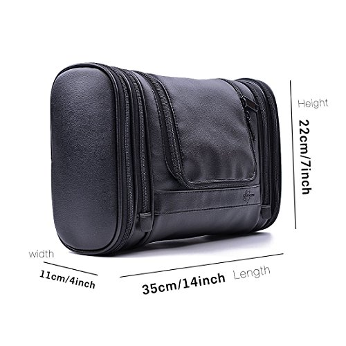 Beschan Mens Extra Large PU Leather Hanging Toiletry Wash Bag, Black