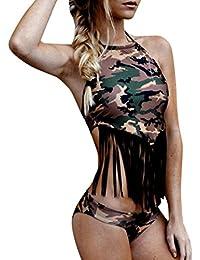 2018 Mujer Bikinis Conjuntos, WINWINTOM Verano Ropa de Baño, Moda Borla PUsh-Up Acolchado Sujetador Conjunto Traje de Baño Baños