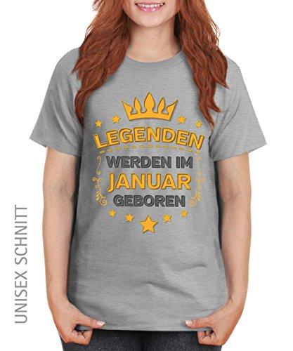 -- Legenden werden im Januar geboren -- Girls T-Shirt auch im Unisex Schnitt Sports Grey