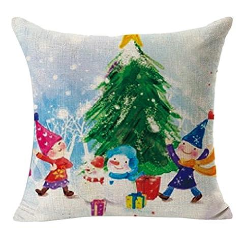 Euone de Noël en lin carré Throw Lin Taie d'oreiller Coussin décoratif Taie d'oreiller, Coton & lin, b, 45cm *45cm