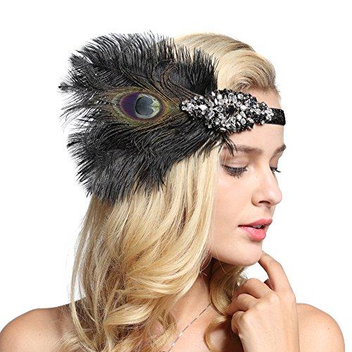 FAIRY COUPLE schwarz Pfauenfedern Silber 20er Jahre Kopfschmuck Vintage 1920er Jahre Stirnband