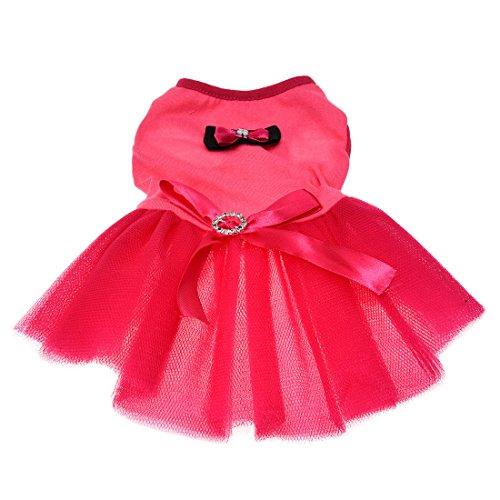mascota Vestido - TOOGOO(R)Rosado Tutu Lazo Cinturon de diamantes de imitacion Animales pequenos Ropa del gato perro Vestido XS