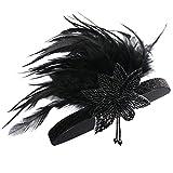 BABEYOND Diadema de carnaval de las mujeres Pluma negra de la pluma Diadema de la aleta de los años 20 grande Gatsby (negro)