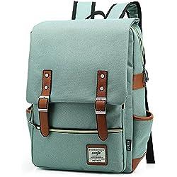 EssVita Casual Escuela Unisex Moda Vintage Mochila Backpack Rucksack Mochila Escolar Estilo A Verde