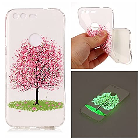 Google Pixel Silicone Case,Google Pixel Gel Case, Google Pixel Luminous Case ,Cozy Hut Green Night Glow In The Dark Transparent Soft TPU Silicone Rubber Anti-shock Beautiful Colorful Printed Patten Design Protective Back Case Cover Skin for Google Pixel - Cherry tree