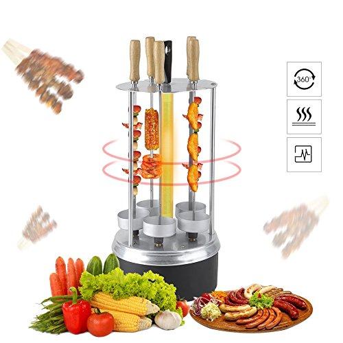 Homgrace griglia elettrica barbecue, potenza di 1000w, macchina kebab girarrosto verticale rotazione a 360°, 5 spiedini con maniglia e 5 vassoi per grassi