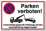 Schild Parken Verboten Unberechtigt parkende Fahrzeuge Werden kostenpflichtig abgeschleppt! Weiß | Stabiles Alu Schild mit UV-Schutz 30 x 20 cm | Parkverbot | Dreifke