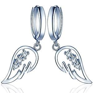 Yumilok Engelsflügel 925 Sterling Silber Zirkonia Ohrhänger Creolen Ohrringe Hypoallergen Ohrschmuck für Damen Frauen Mädchen