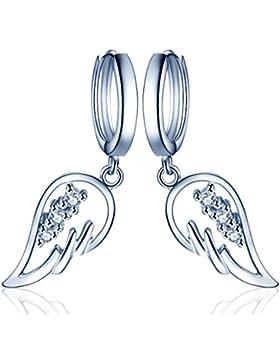 Yumilok Engelsflügel 925 Sterling Silber Zirkonia Ohrhänger Creolen Ohrringe Hypoallergen Ohrschmuck für Damen...