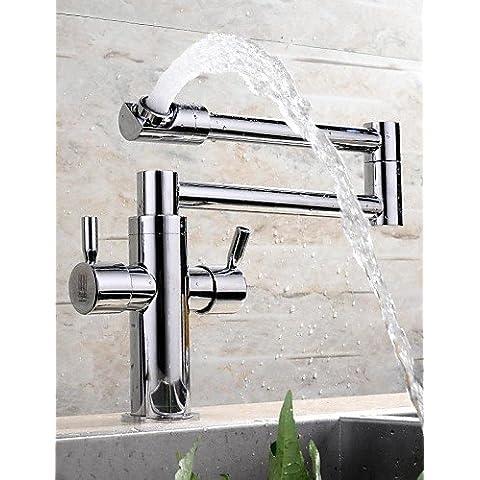 LINA@ HPB estensione chrome contemporaneo finitura ottone un foro due manici rubinetto della cucina