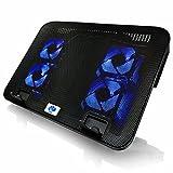 AAB Cooling NC75 - Bases de Refrigeración | Estable Construcción con 4 Ventiladores, y Retroiluminación Azul | Base de Portatil | Base Refrigerante Portatil | Refrigerador PS4 | Ventilador Laptop